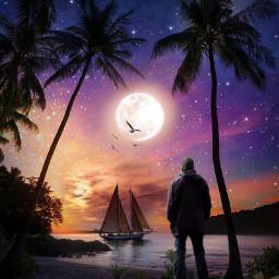 freetoedit moon sunset sunsetsky tropical fxeffects clipart fxtools maskeffect