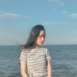 freetoedit blue sea summergirl