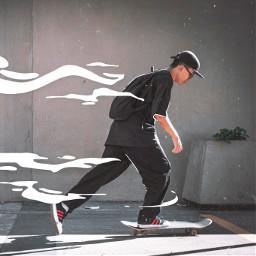 freetoedit boy skate waves motion picsart мальчик скейт движение волны