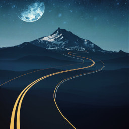 freetoedit mountain backgrounds moon road myedit madewithpicsart