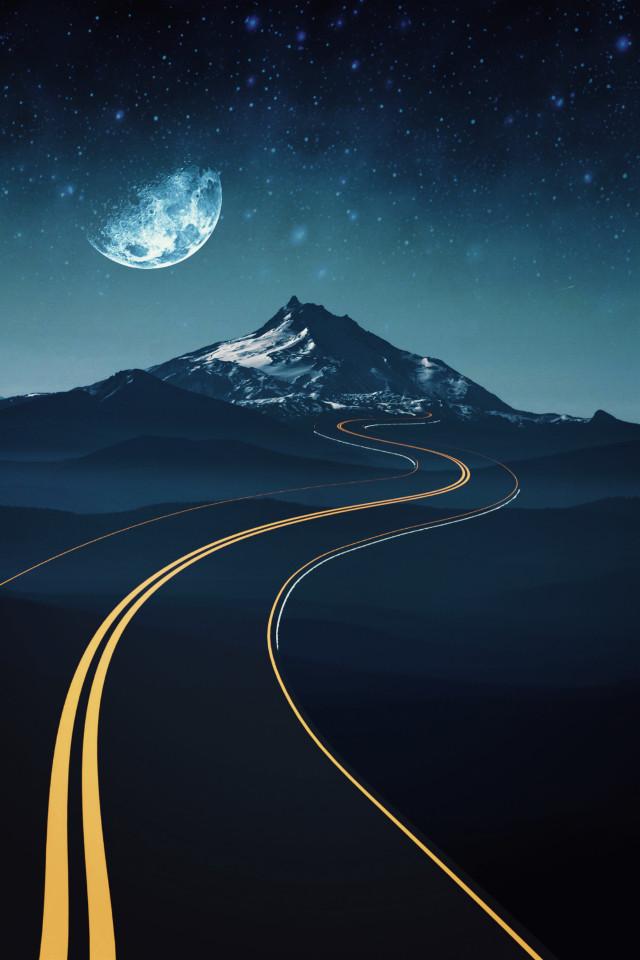 #freetoedit #mountain #backgrounds #moon #road #myedit #madewithpicsart