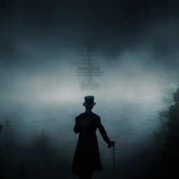 freetoedit dark ship fog man mysterious forest sea be_creative