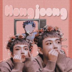 celitaateezcontest hongjoong kimhongjoong leader ateez kq kqentertainment kqfellaz kpop koreanpop music cute aesthetic edit picsart