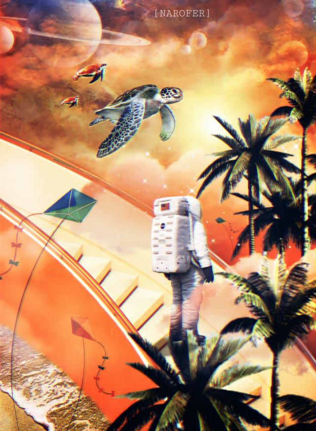 #freetoedit #madewithpicsart #surreal#myedit #galaxy #sea#creative #inspiration  #Orange#sunset