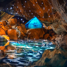 freetoedit myedit madewithpicsart remixed cave water hidden magical nature landscape dream sparkle