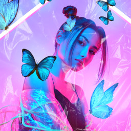 freetoedit neon neonvibes butterfly butterflies neoneffect vibrant