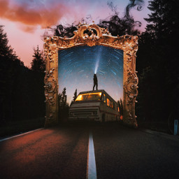 freetoedit madewithpicsart street bus tour travel frame picture smoke light galaxy startrial forest evening surreal icyx