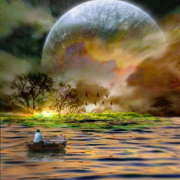 freetoedit island fullmoon goldenhour isolated