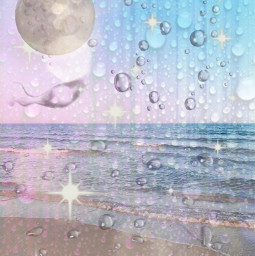 moonlight starsky rain beach freetoedit