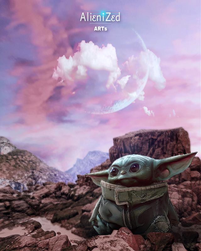Baby Yoda and I wish you a super nice Thursday planet 👋🏻👽👉🏻☕️🍪🍩@PA 😊   #babyyoda #themandalorian #waltdisney #starwars #fanart #alien #cute #space #nature #moon #clouds #picsartmaster #alienized #wallpaper #uhd #editedwithpicsart  #freetoedit