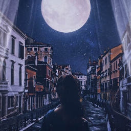 freetoedit night girl art moon buildings river curtains bed poetry be_creative