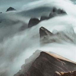 freetoedit mountain mist cloud smoke mountains art night photography aesthetic nature