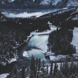 freetoedit mountain mountainside mountains lake river water forest snow photography nature night sky