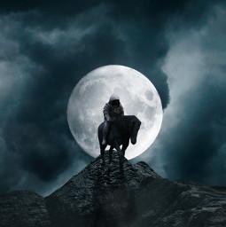 freetoedit astronaut horse clouds cloudy rock moon night fantasy mist