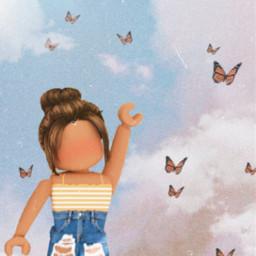 roblox gfx butterfly sun freckles yellow girl robloxgirl gfxforroblox freetoedit