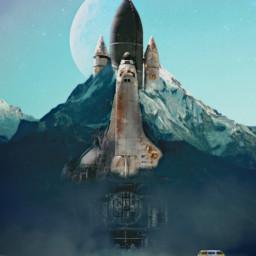 freetoedit spaceshuttle mountain van factory industrial abandoned ruin halfmoon moon unsplash