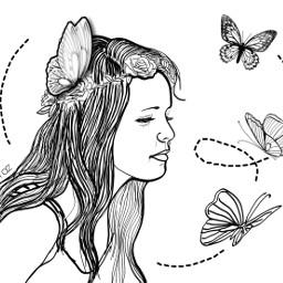 portrait drawing butterflies littlegirl illustration sketch lineart freetoedit