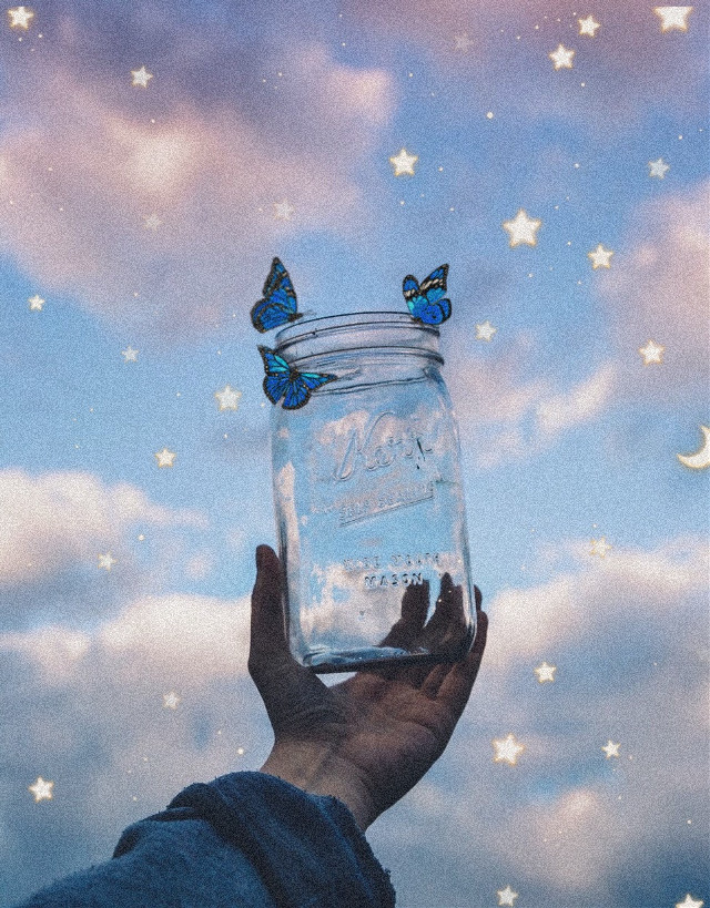 #freetoedit #butterflies #butterfly #interesting #Stars#hand#blue#clouds