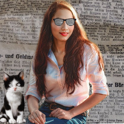 freetoedit newspapers newspaperbackground woman glasses glassescoveredwithnewspaper cat catseyescoveredwithnewspaper erasetool madewithpicsart