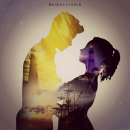 freetoedit couple girl boy silhouette lighthouse ship sunset vintage clouds simple galaxy picsart love