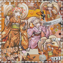 hiyokosaionji hiyoko saionji edit danganronpa danganronpa2 goodbyedespair orange pink white cute aesthetic butterfly vouge heart retro flower peach anime art freetoedit