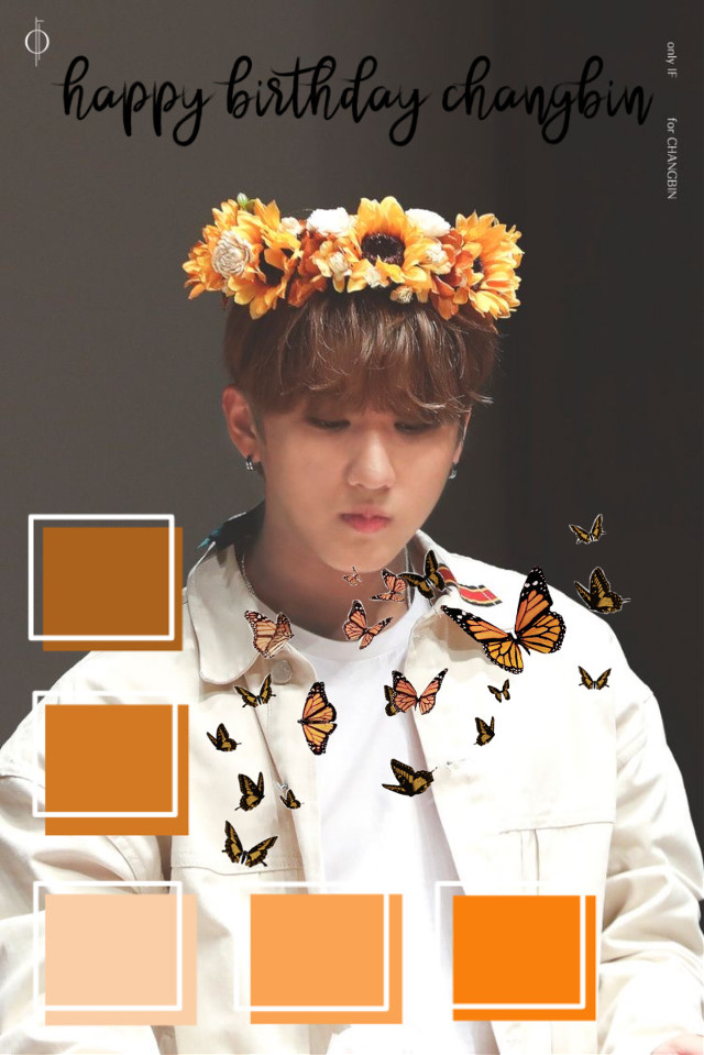 happy birthday binnie! i love you so much!! you're such an insparation to me. ❤️❤️❤️ #changin #straykids #edit #orange #butterfly #flowercrown #happybirthday  #freetoedit