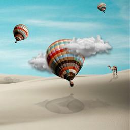 freetoedit travel hotairballoon desert camel