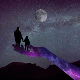freetoedit fathersday fatherdaughter fatherson father fathers daughter girl galaxy galaxyhand sky moon galaxysky sillhouette srcgalaxyhand
