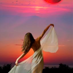 freetoedit mastershoutout shoutout fantasyart woman dancing nightsky moonlight stickers hdr1 picsarteffects myedit madewithpicsart