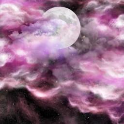 pinksky moon stars pinkclouds freetoedit