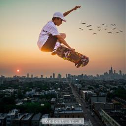doubleexposure skyline city birds sunset orient_arts madewithpicsart freetoedit papicks stayinspired createfromhome remixit