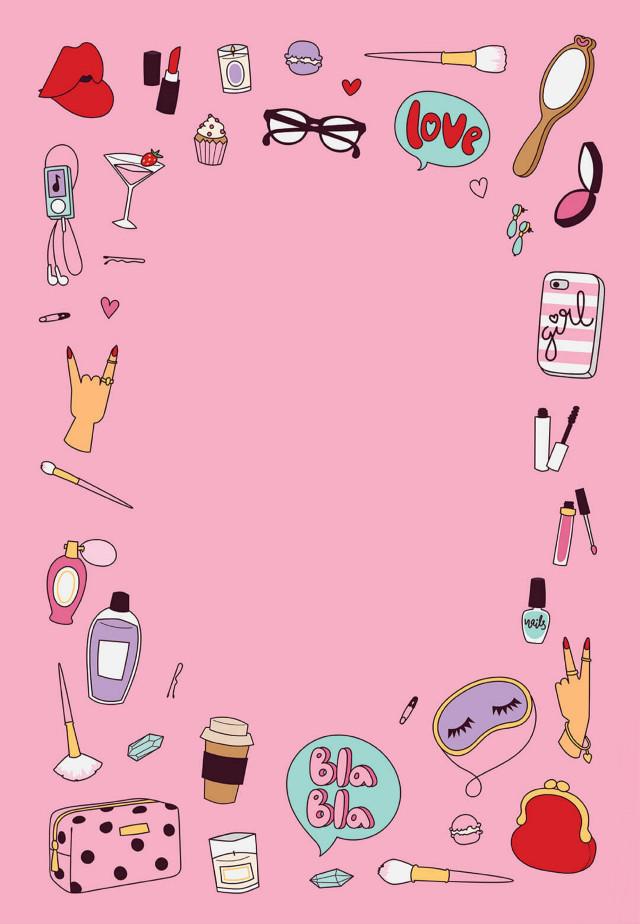 #background #girly #makeup #illustration #cartoon #cosmetics #paperbackground #girlstuff #pink #remixit  #freetoedit