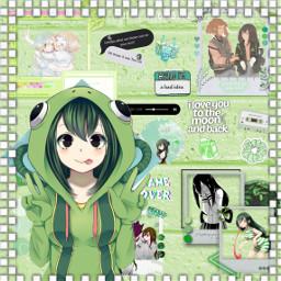 freetoedit anime myheroacademia tsuyuasui urarakachako lovely friends green