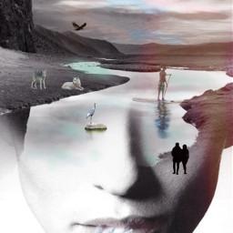 freetoedit remix picsart surreal drawtool nature river wildlife