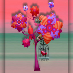 freetoedit tree flowertree heart cage brightcolors melancholy myart myedit
