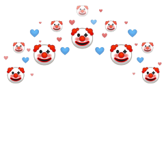 freetoedit exlipsegfx clown clowncheck crown headband hearts heartcrown overlay filter overlays heart crowns meme red blue aesthetic