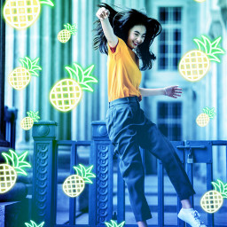 freetoedit neon gradient pineapple neonvibes fruit summer
