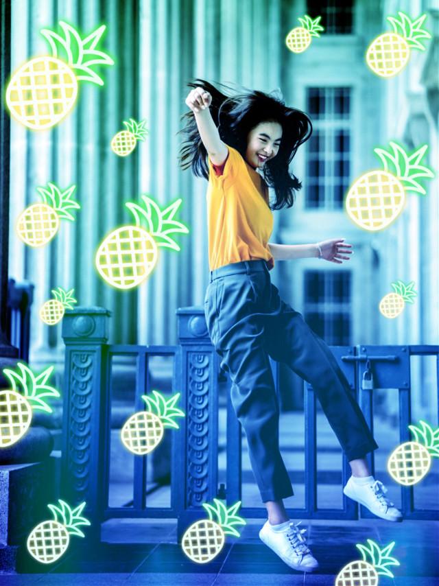 #freetoedit #neon #gradient #pineapple #neonvibes #fruit #summer