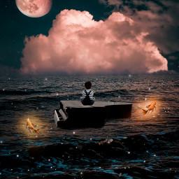 sky heaven boy freetoedit piano fish sea water light bright exile moon stars inspiration creative awesome amazing fantasy madewithpicsart picsartpicks pickme papicks