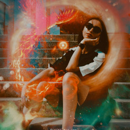 freetoedit orange red fire girl phoenix space galaxy galaxyedit magic magical surreal surrealism papicks heypicsart be_creative madwithpicsart stayinspired createfromhome picsartedit myedit aesthetic picsart