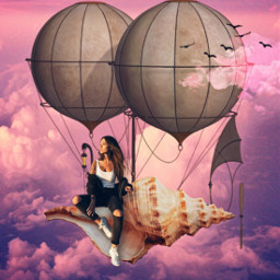 freetoedit seatreasure seashell hotairballoon girl sitting sittingpretty sky clouds flyingbirds floating fantasy daydream imagination myimagination stayinspired create madewithpicsart