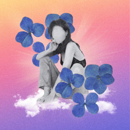 collage collageartwork digitalcollage artcollage aesthetic dreamy gradient flowers female