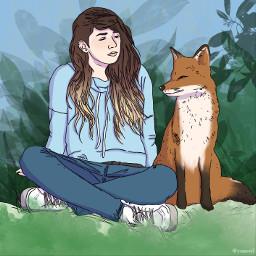paintedversion painted paintedoutline fox girl forest nature explore freetoedit