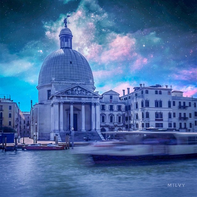 """Magical Venice"" 💙 #Italy #mysummertriptovenice #visititaly #shotoniphone #createdoniphone #myphoto #mycreation #myedit #longexposure #photograpqhy #fantasy #astronomical #sky #stars #surreal #blue #Venezia #Venice"