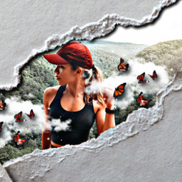 paper butterflies wilderness girl fromreplay bored freetoedit