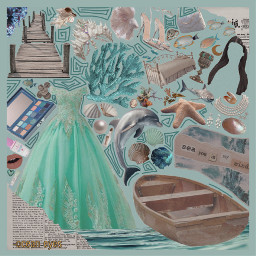 freetoedit picsart vsco polyvore png pngclothes aesthetic pngaesthetic ocean oceancore oceaneyes mermaid mermaidcore mint teal shells newspaper royal moodboard