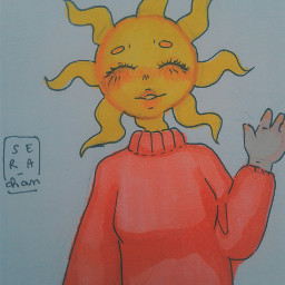 freetoedit drawing girl cute oc shy sun sungirl yellow shygirl penart pink  ~~ @aspeisse pink