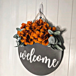 freetoedit welcome text decor wreath door flowers hdreffect