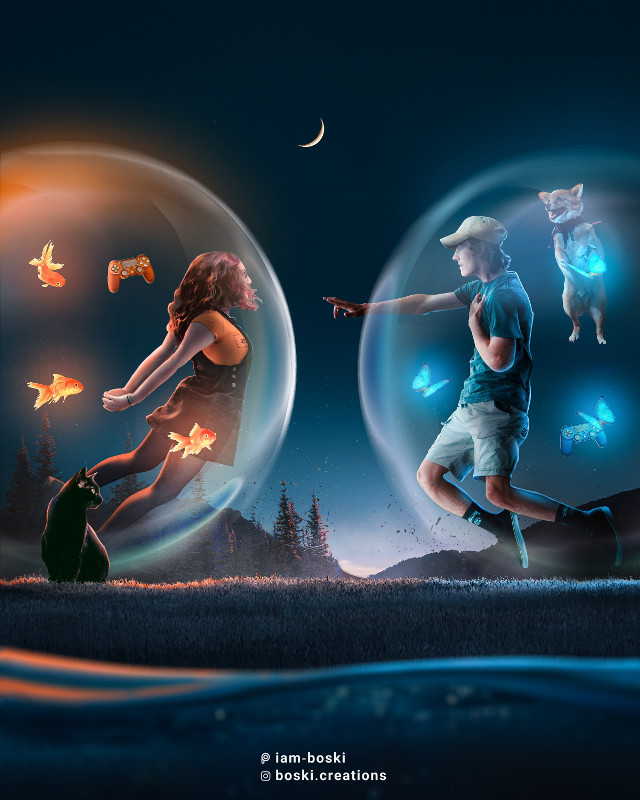 🧡🎮💙  Check out my Instagram @boski.creations    Made using photoshop CC 2020     #freetoedit #picsart #papicks #couple #photoshop #bubble #introvert #surrealism #surreal #water #ocean