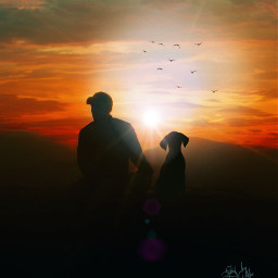 freetoedit mastershoutout photoremix sunsetsilhouettes mansbestfriend sereneview serenity